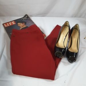 Pants - Red Stretch Jeggings Size XL
